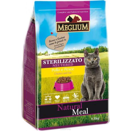 MEGLIUM NEUTERED Корм сух. 1,5 кг для стерилизованных кошек курица  рыба MGS1201